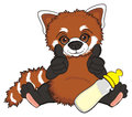 Red panda with drink