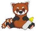 Red panda and empty bottle