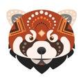 Red panda Head Logo. Fire fox Vector decorative Emblem.