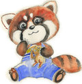 Red panda with toy, watercolor for children Stock Photography