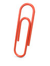 Red paper clip on white background d illustration Stock Images
