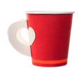 Red paper coffee cup isolated on white Royalty Free Stock Photo