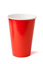 Red paper cup  on a white background Stock Photos