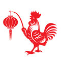 Red paper cut a chicken bantam holding lanterns zodiac symbols Royalty Free Stock Photo