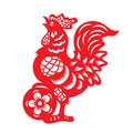 Red paper cut a chicken zodiac and flower symbols Royalty Free Stock Photo