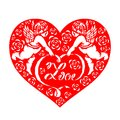 Red paper cut couples cupid hold love text ribbon and rose in heart vector design Royalty Free Stock Photo