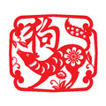 Red paper cut dog zodiac in frame and flower symbols Chinese word mean dog