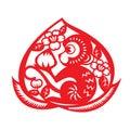 Red paper cut monkey zodiac symbol monkey holding peach in peach Stock Photos