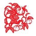 Red paper cut monkey zodiac symbol monkey on peach tree Stock Photography