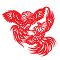 Red paper cut a rooster chicken gamecock zodiac symbols Royalty Free Stock Photo