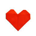 Red paper origami heart isolated on white background Royalty Free Stock Photo