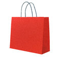Red paper shopping bag Stock Photos