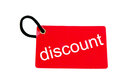 Red paper tag labeled with discount words Stock Photos