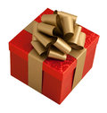 Red paper wrap gold bow gift box isolated Royalty Free Stock Photo