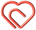 Red paperclip heart in the shape isolated on white background Stock Photos