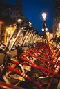 stock image of  Red parked rental bikes at night perspective shot