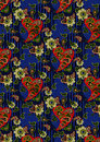 Red pasley and light green flowers on a blue background seamless with patterns Stock Photo