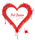 Red passion splashes of form a heart with space for text Stock Image