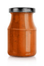Red pasta sauce jar Royalty Free Stock Photo