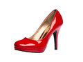 Red patent leather sexy shoe Royalty Free Stock Images