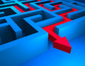 Red path across blue labyrinth Royalty Free Stock Photo