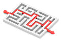 Red path across labyrinth Royalty Free Stock Photo