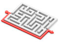 Red path around labyrinth Royalty Free Stock Photo