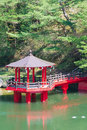 Red pavilion in the pond this is a Royalty Free Stock Images