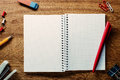 Free Stock Photo 10819 Open Blank Notebook with Ballpoint ...