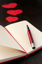 Red pen for writing about love copyspace Stock Images