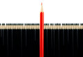 Red pencil among black pencils Royalty Free Stock Images