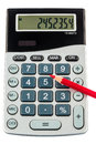 Red pencil and calculator Stock Photography
