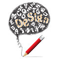Red pencil drawing speech with Design text symbols Royalty Free Stock Photo