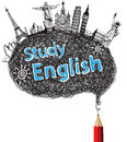 Red pencil drawing speech with study english Stock Images