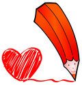 Red pencil with heart Royalty Free Stock Photo