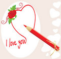 Red pencil and heart with rose. Valentines card Stock Image