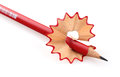 Red pencil and shaving Royalty Free Stock Photo