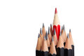 Red pencil standing out from crowd Royalty Free Stock Photo