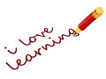 Red pencil writing down text i love learning white space concept learning education schooling skill enhancement Stock Photo