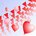 Red pennants and balloons Stock Photos