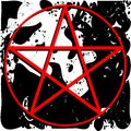 Red pentacle on spotted background Royalty Free Stock Photo