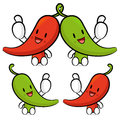 Red pepper character couples are welcome to sit vegetable chara design series Stock Photo
