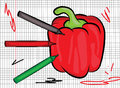 Red pepper drawn on paper illustration vector of a Royalty Free Stock Photography