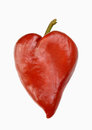 Red pepper in heart shape isolated on white background Stock Image
