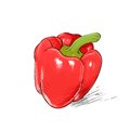 Red pepper sketch draw isolated over white