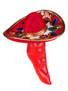 Red pepper wearing colorful sombrero Royalty Free Stock Photos