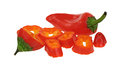 Red pepper whole sliced a mini sweet and Stock Image