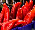 Red peppers on city street market
