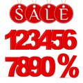 Red Percent Sign, Numbers 0-9 and a Sale Labels