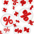 Red percentage symbols in soap bubbles on the white background Stock Photography